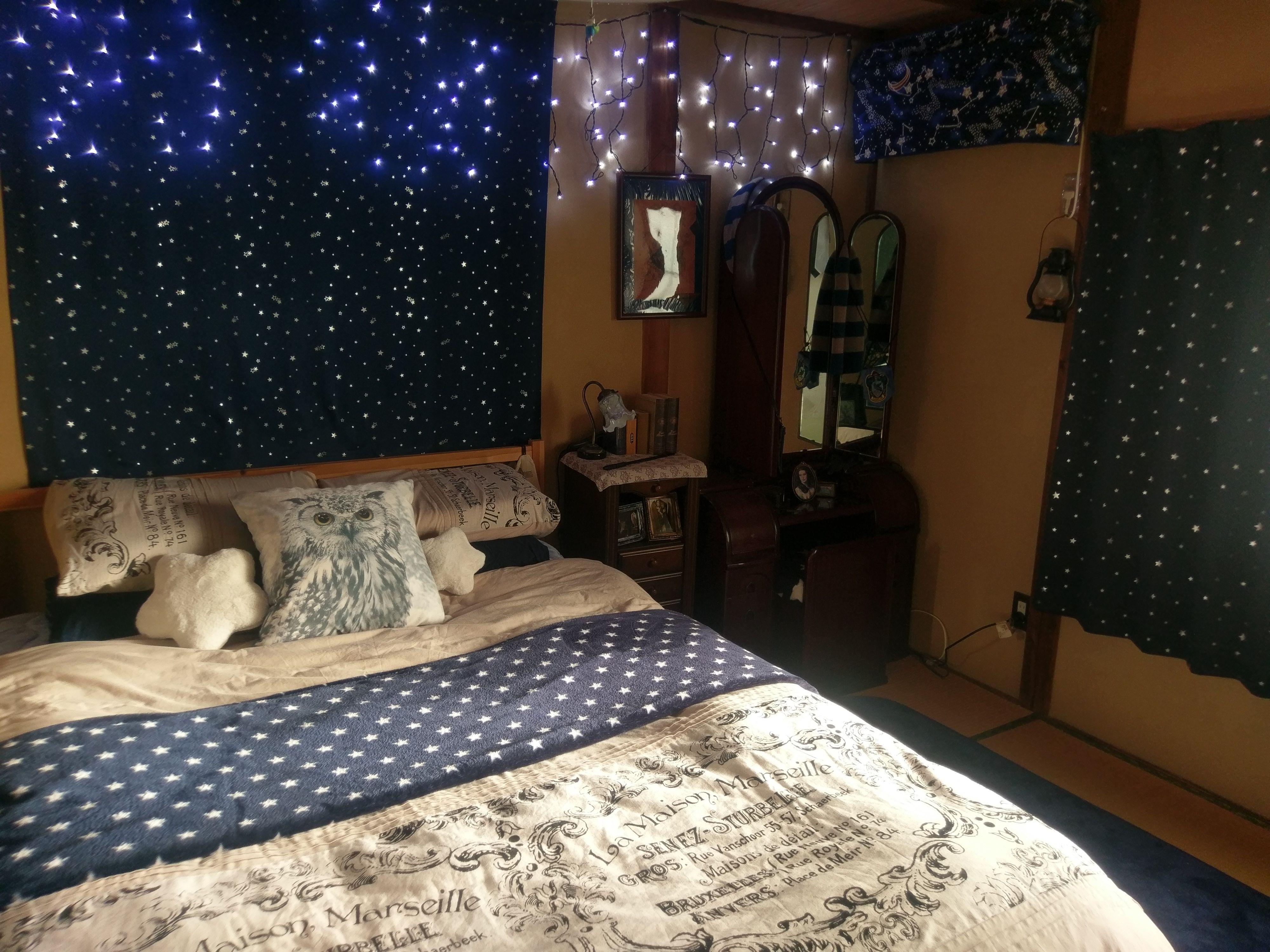My Ravenclaw Bedroom Plenty Of Stars Against Dark Blue Backgrounds Aesthetic Bedroom Redecorate Bedroom Hogwarts Bedroom