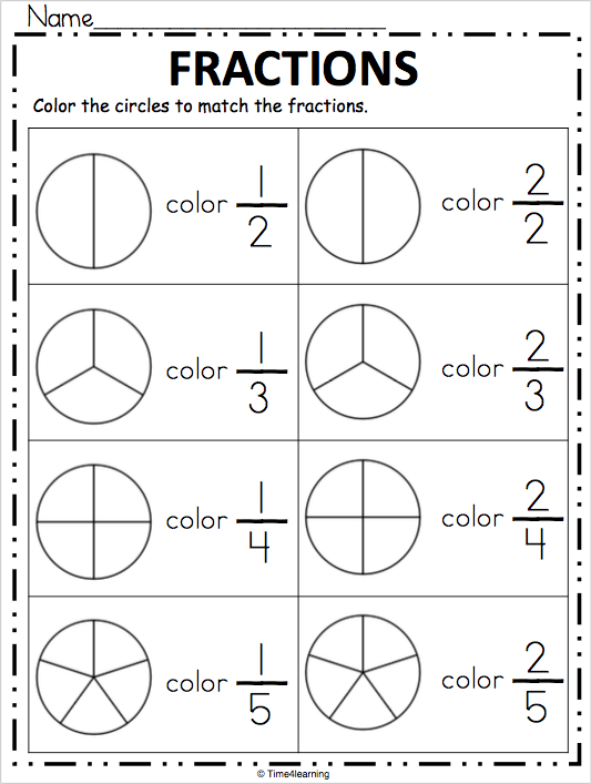 Fraction Worksheet - Color the Fraction | Fractions ...