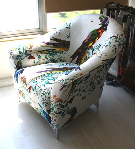 Multicolored Bird and Floral Armchair by CSERASURFACEDESGN on Etsy, $575.00