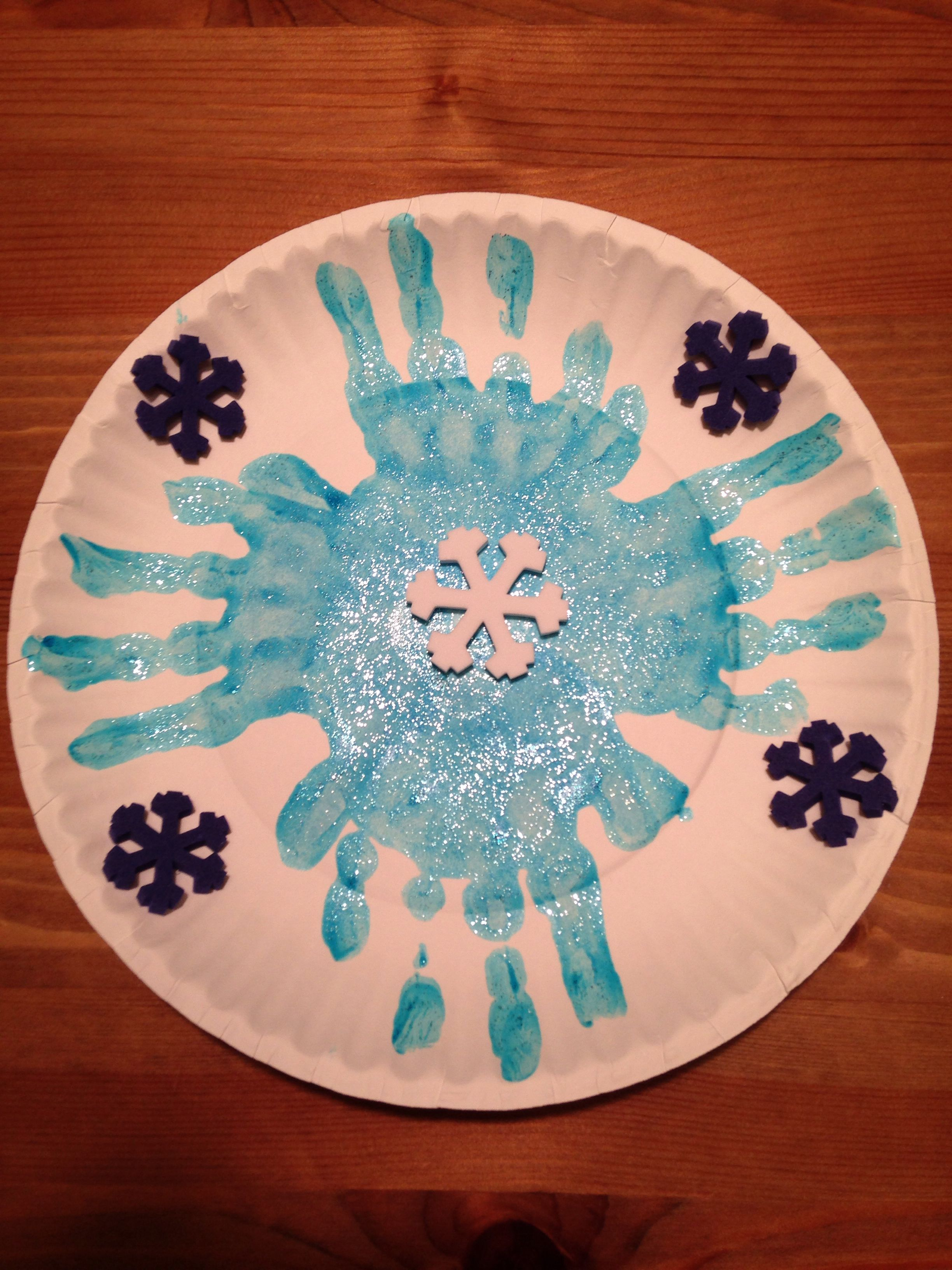 Paper Plate Handprint Snowflake Craft Winter