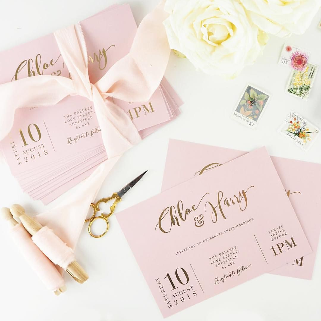 Blush and gold foil calligraphy wedding invitations | Atten by Becky ...