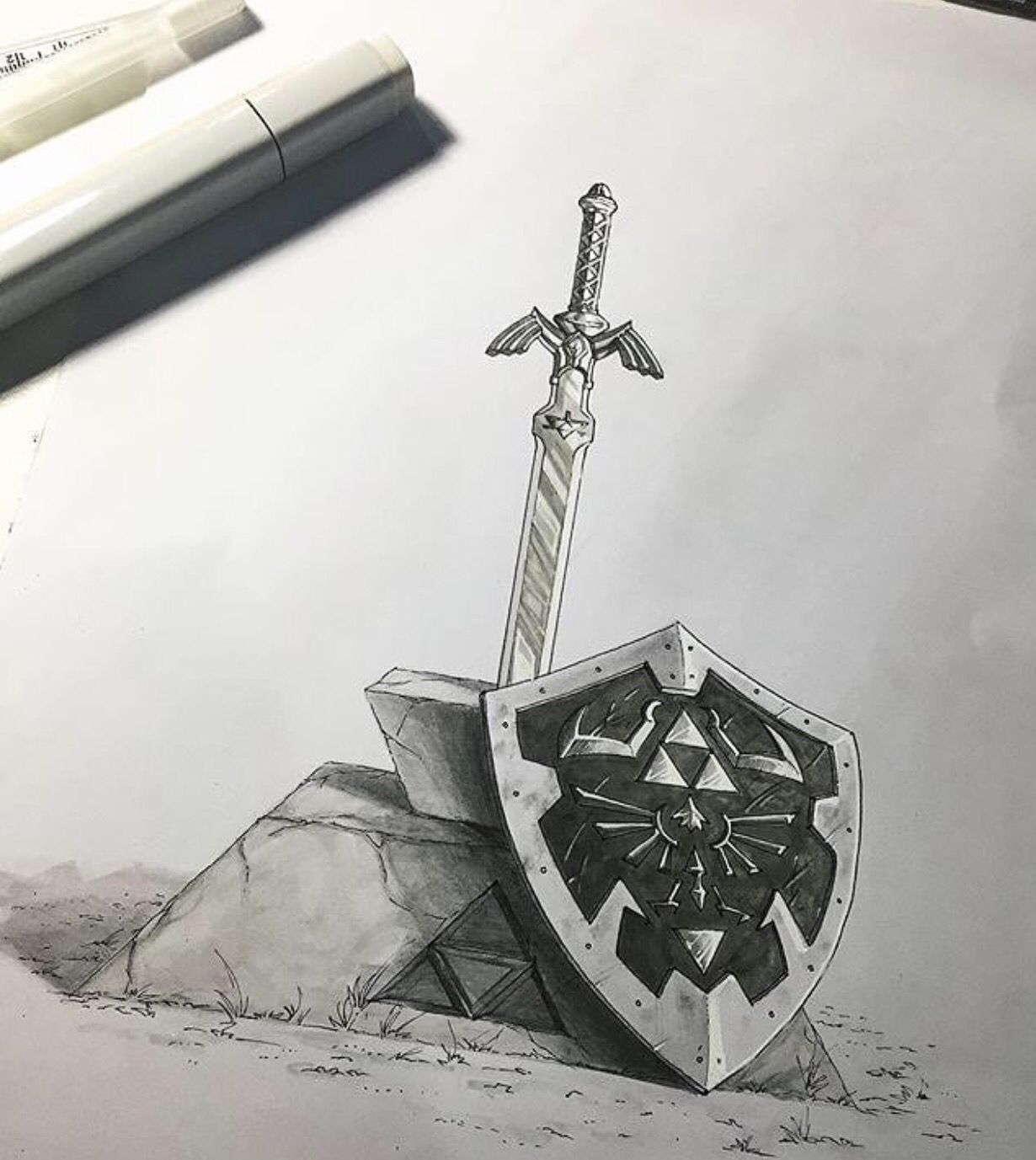 Master Sword And Hylian Shield Art By Rafaelmarques Art Dessin