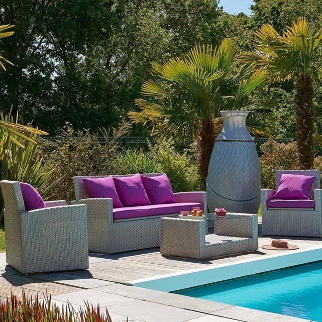 Salon de jardin 4 places résine tressée Méditerranée Le Reve ...