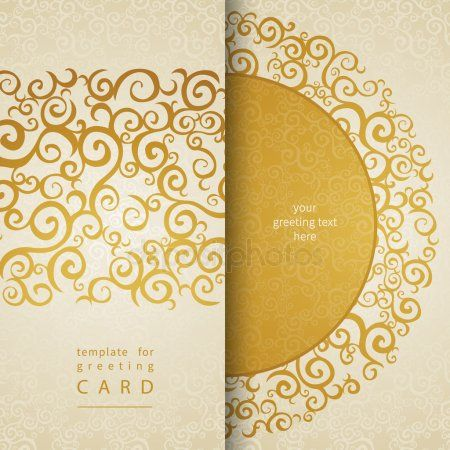 Vintage invitation cards with lace gold ornament. - Stock Vector , #Aff, #cards, #lace, #Vintage, #invitation #AD