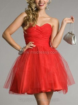 Ball Gown Sweetheart Tulle Short/Mini Sleeveless Pleats Prom Dresses