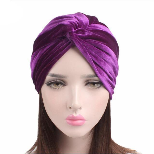 Womens Elastic Velvet Twist Knot Headband Stretchy Head Wrap Turban Hair ban;DE