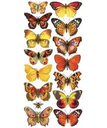 1 Sheet of Stickers Yellow and Orange Butterflies
