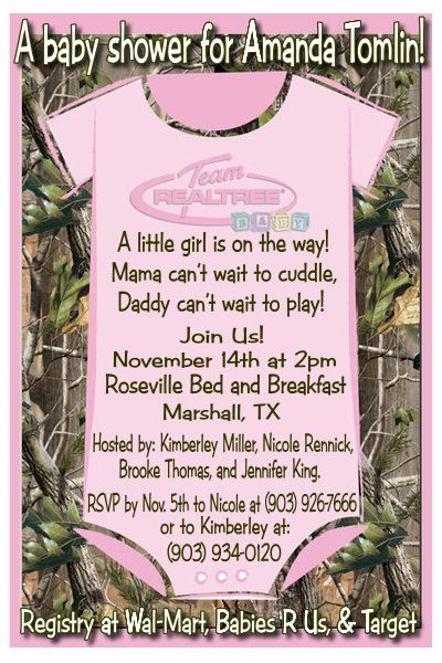 Real tree camo hunters baby shower invitations pick green pink or invitation for a baby shower i like this for boy or girl of course color would be changed if a boy filmwisefo