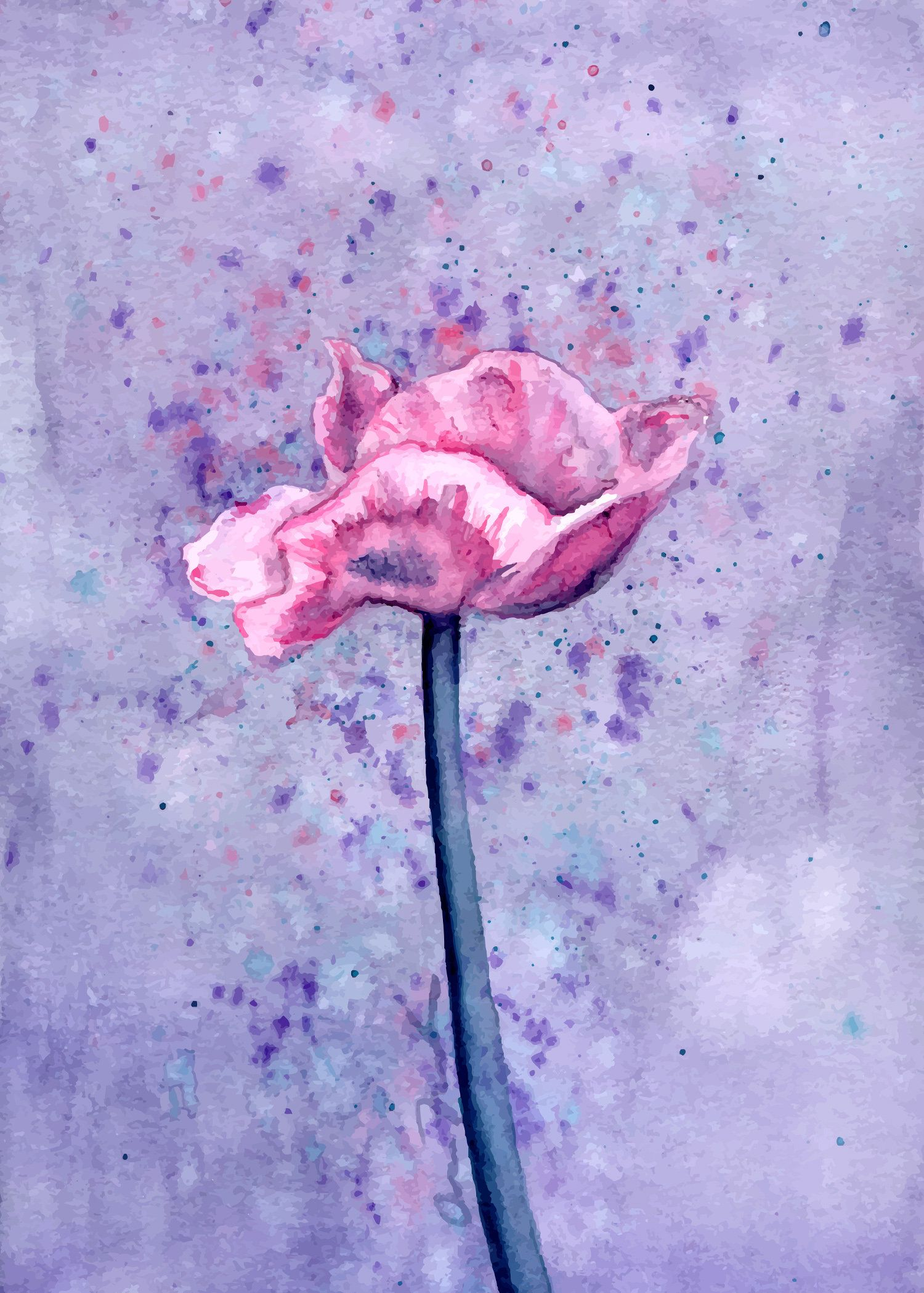 Pink Poppy With Lavender Background Flower Watercolor Art Print Matte Paper High Quality Pr Watercolor Flowers Paintings Watercolor Art Prints Flower Painting