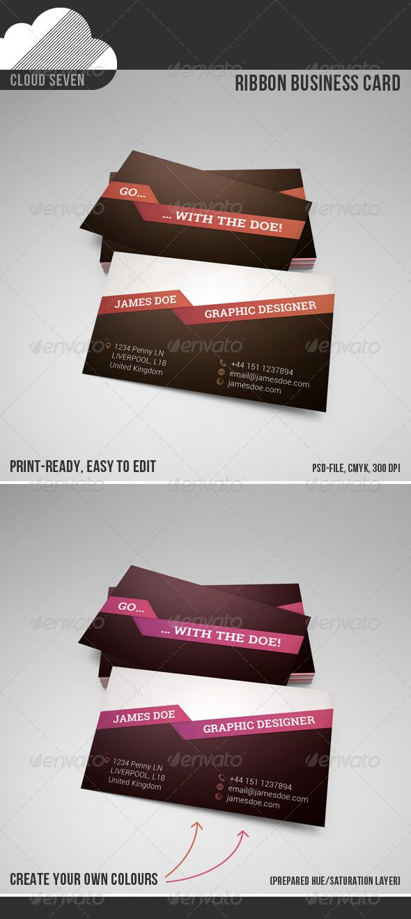 Ribbon business card business cards business and print templates ribbon business card graphicriver nice and stylish business card layout for multipurpose use features reheart Choice Image