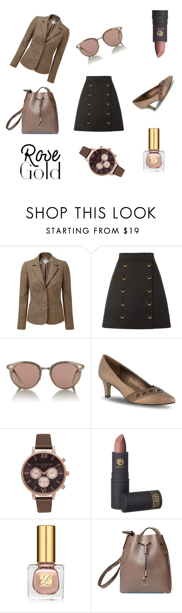 """""""Final Fanfare: Rose Gold in the Office"""" by tankytank ❤ liked on Polyvore featuring Pure Collection, Dolce&Gabbana, Oliver Peoples, Easy Street, Olivia Burton, Lipstick Queen, Estée Lauder and RUSKIN"""