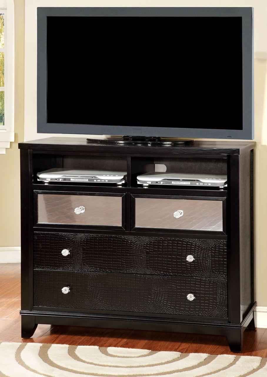 Black Crocodile Skin Leatherette Tv Media Chest 7288tv Furniture Of America Wood Tv Console Furniture [ 1280 x 908 Pixel ]