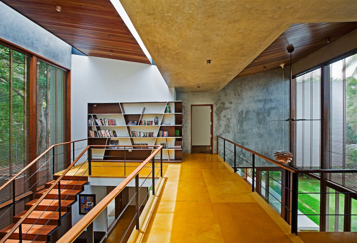 This Indian Home Features Bright Colors Including Jaisalmer Yellow Sandstone Floors That Contrast With A