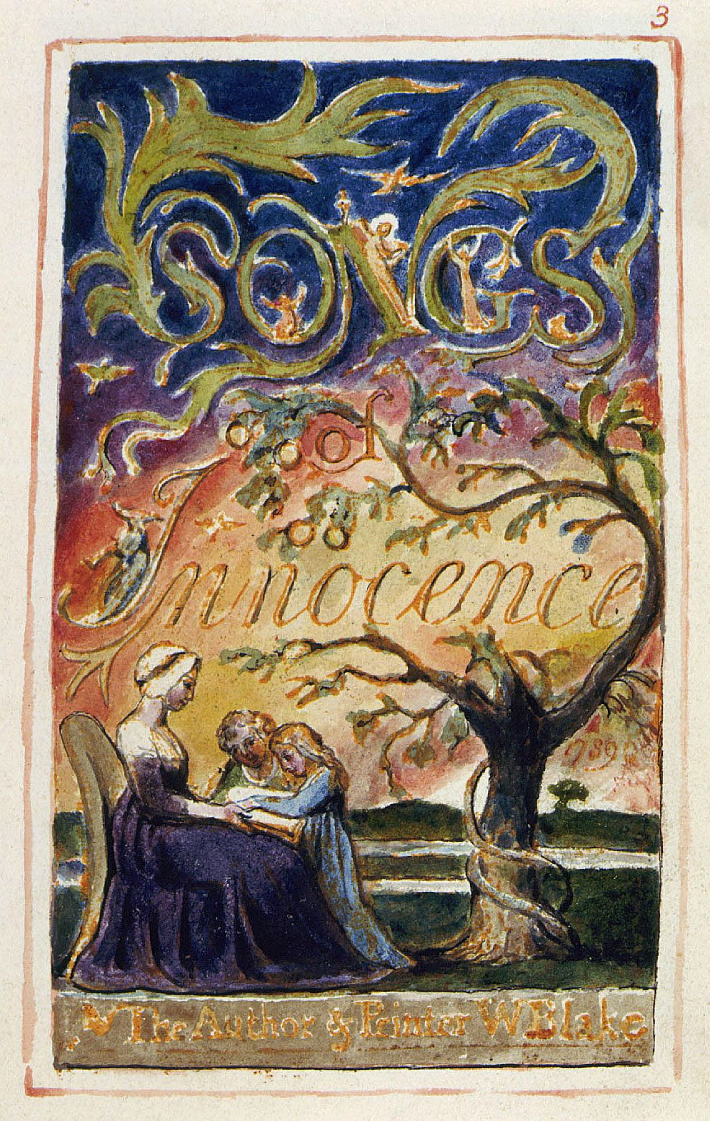 William Blake Title Page From Songs Of Innocence 1789 Songs