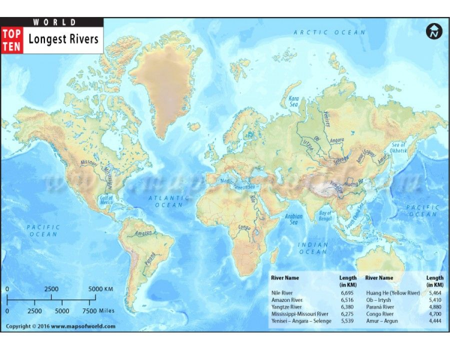 Buy World Top Ten Longest Rivers Map Top Ten Rivers And Store - World's longest rivers top 5