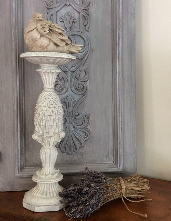French Distressed Painted White Candle Holder by greywillowllc