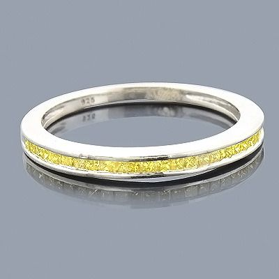 ultra thin yellow diamond wedding band 029ct sterling silver - Yellow Diamond Wedding Ring