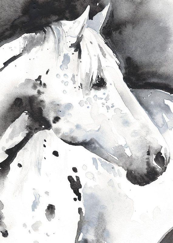 Print Of Watercolour Painting Horse By Silverridgestudio