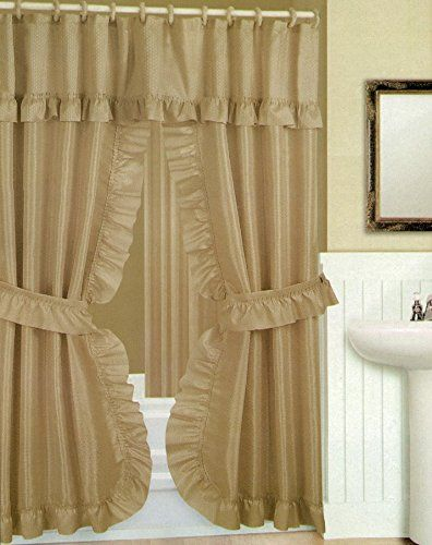 Double Swag Shower Curtain With Liner Set Taupe Tan 70x72 Click