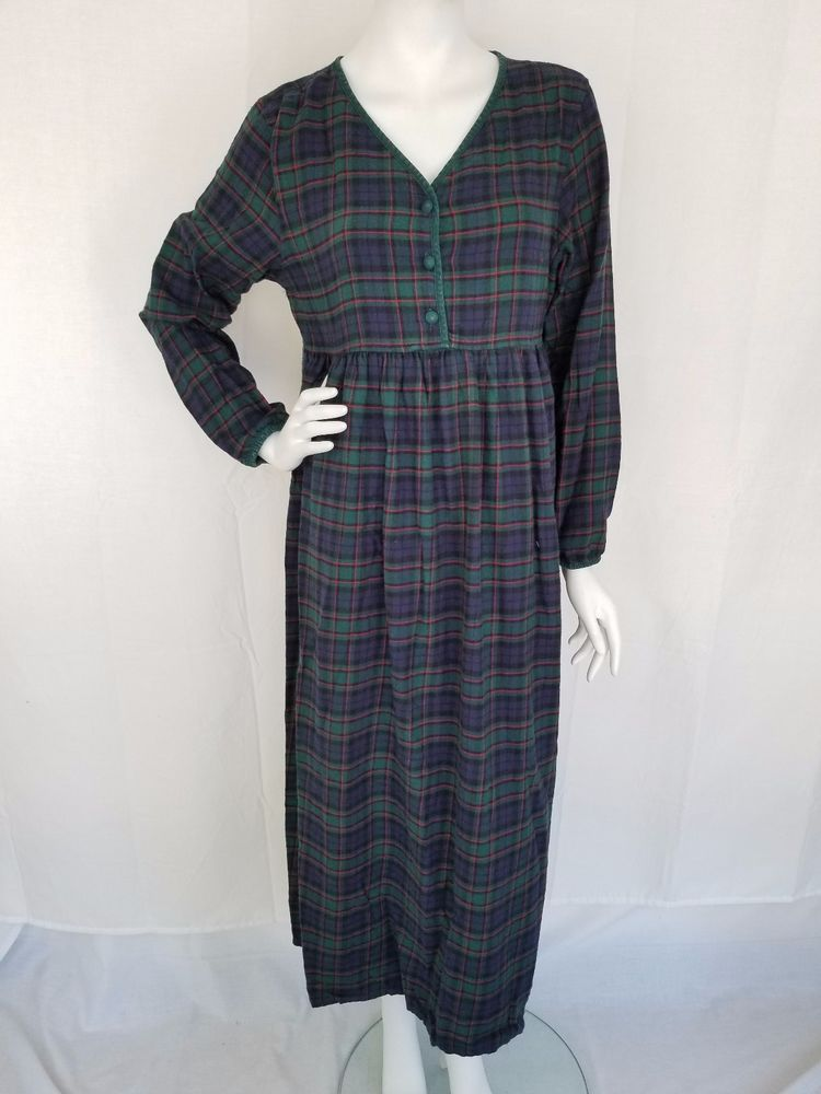 f0733a6506 VICTORIA SECRET Authentic Country Cottons 100% Cotton Plaid Flannel  Nightgown SM