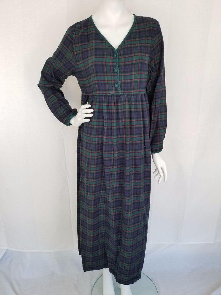 84128cffcb VICTORIA SECRET Authentic Country Cottons 100% Cotton Plaid Flannel  Nightgown SM