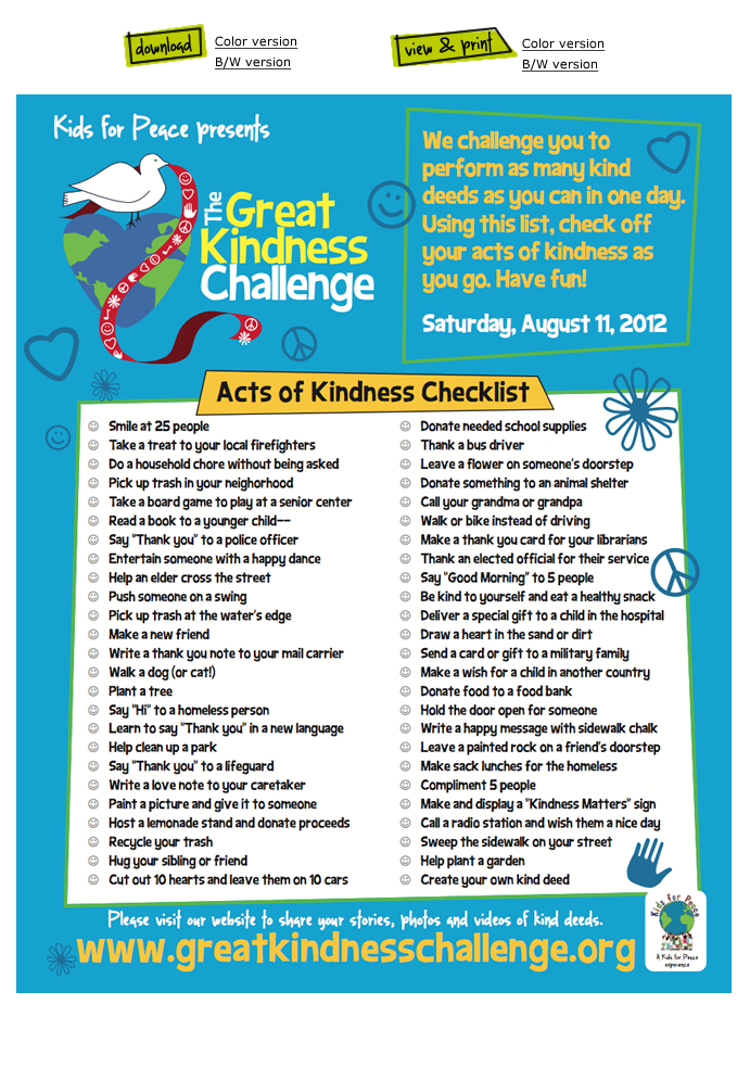 Classroom Pledge Ideas ~ Great kindness challenge pledge kids can get their
