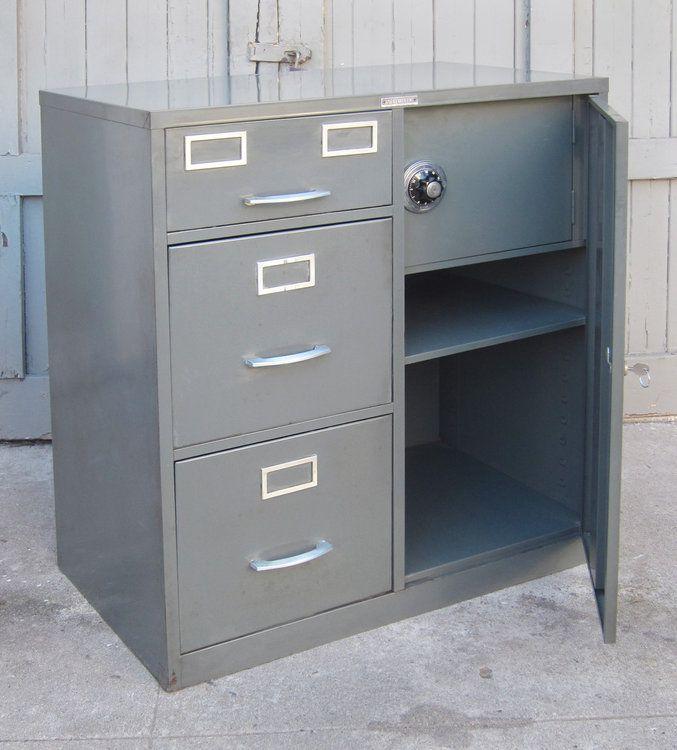 mid century locking 3 drawer file cabinet w safe cabinet ideas rh pinterest com
