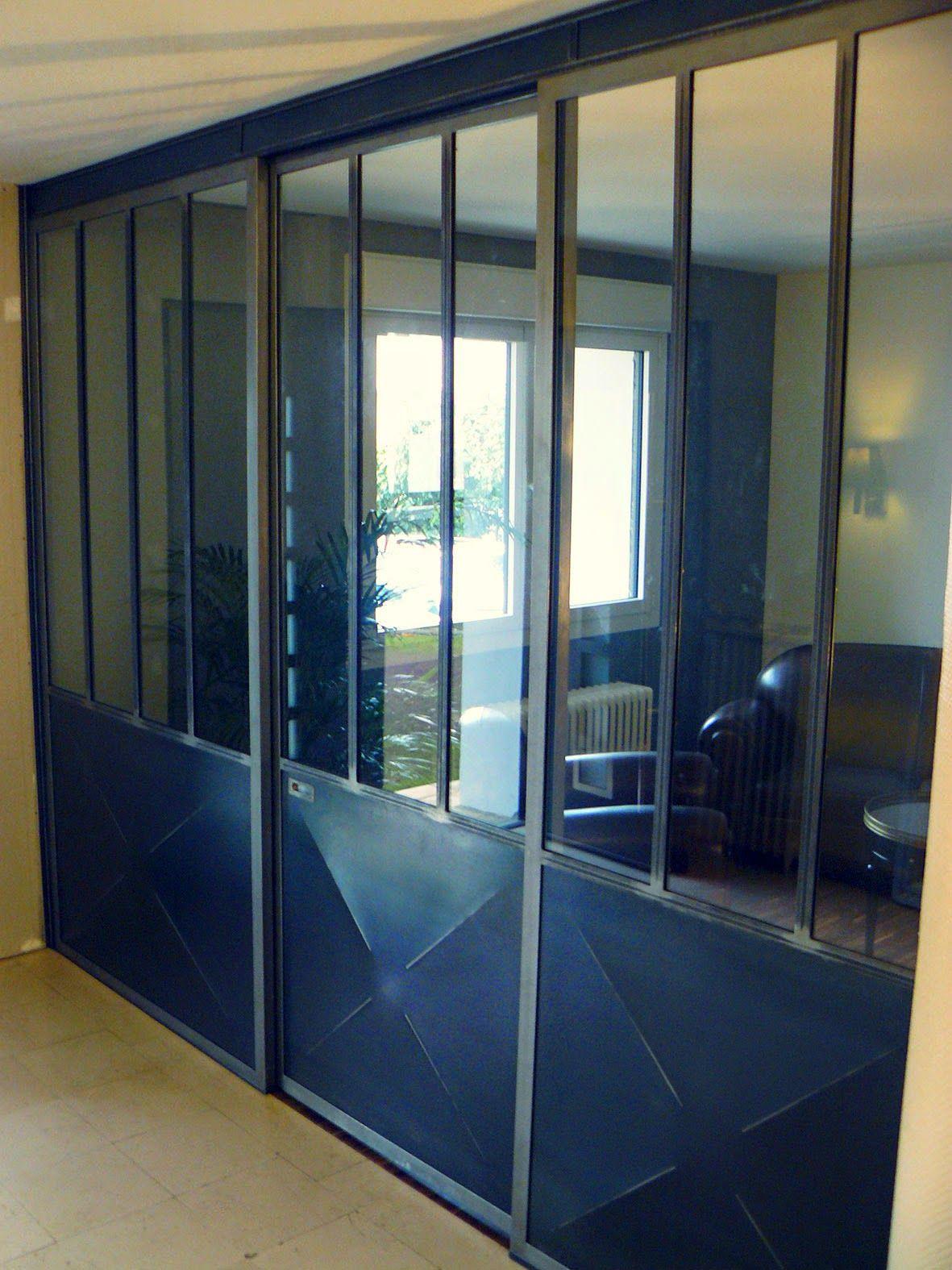 Cloison Fixe Et Porte Coulissante En Acier Et Verre Type Atelier - Porte placard coulissante avec serrurier colombes
