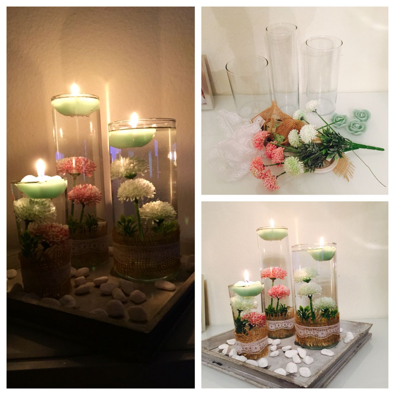 vintage deko vasen mit kerzen und blumen diy pinterest deko vasen vintage deko und vasen. Black Bedroom Furniture Sets. Home Design Ideas