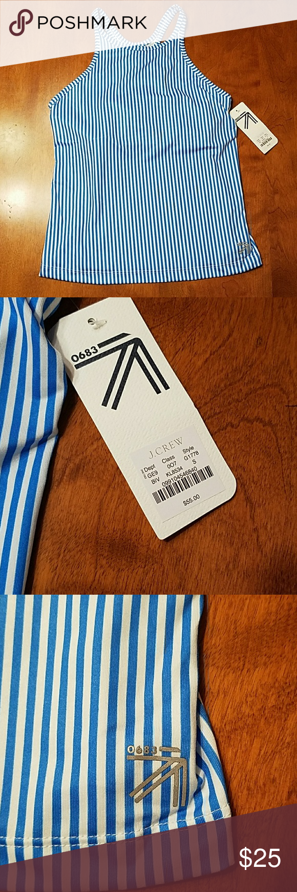 40824434e0b88 J.Crew New Balance workout sports bra tank This blue and white striped New  Balance top from J.Crew is brand new with tags. Has a built-in bra.