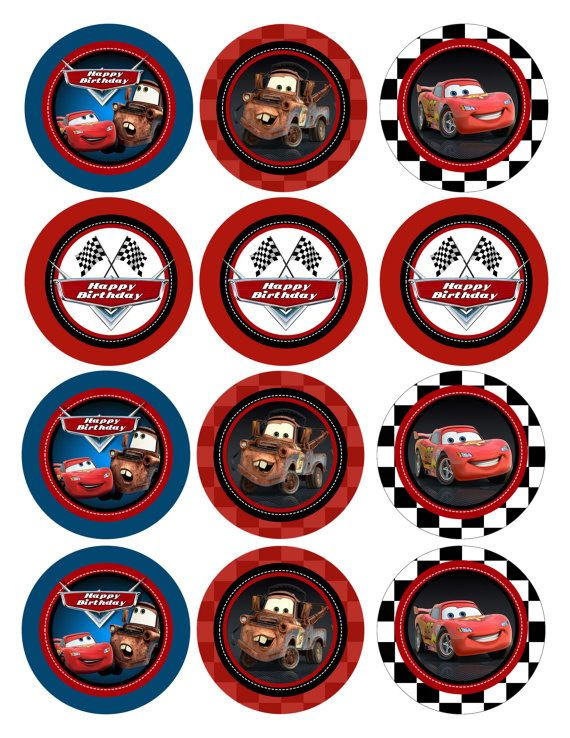 Instant Download Non Personalized Birthday Disney Cars Cupcake Toppers Or Favor Tags Cars Gift Tags Cars Printable Party Circles Cars Birthday Party Disney Cars Cupcakes Disney Cars Cupcakes