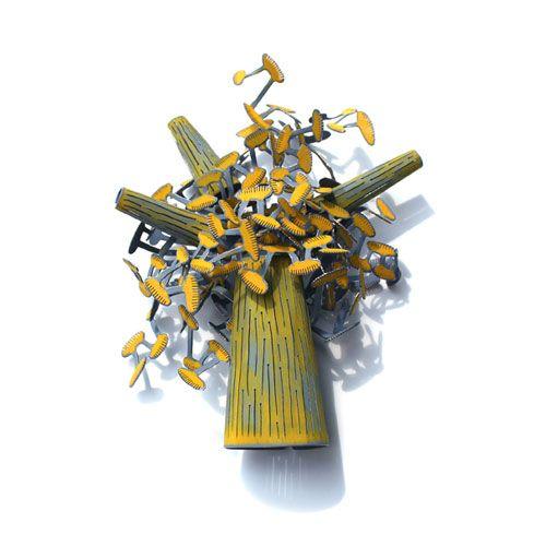 Mirjam Hiller Brooch: Tree Yellow-Blue, 2013 Stainless steel, powder coated