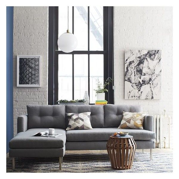 Jackson Sofa West Elm Silver Velvet Tufted Sectional Linen Weave Dusty Blue Sofas 2 079 Liked On Polyvore Featuring Home Furniture Hand Made