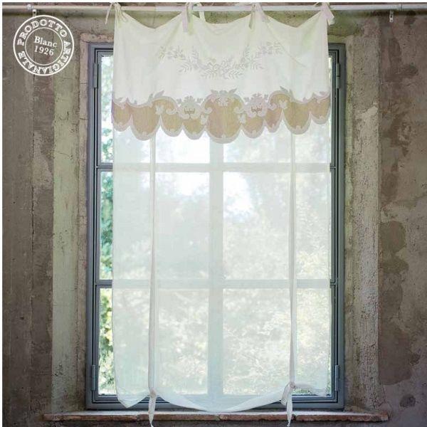 Store rideau de charme Poésie Blanc Mariclo   rideaux de charme ...