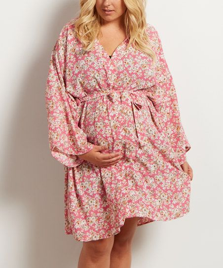 PinkBlush Maternity PinkBlush Pink & White Floral Maternity Dressing Robe - Plus   zulily.  So cute with leggings and boots for Fall!