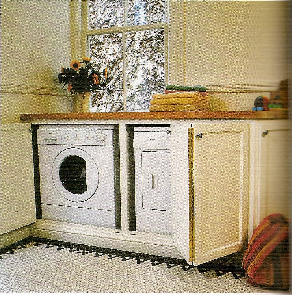 Washer and dryer behind base cabinet doors  Home