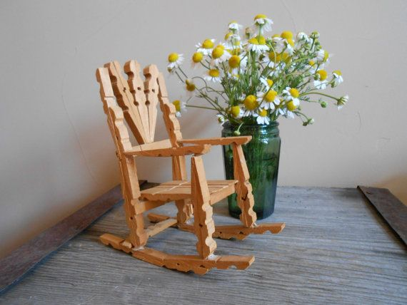 vintage folk art clothespin rocking chair one of a kind folk art made with clothespins. Black Bedroom Furniture Sets. Home Design Ideas