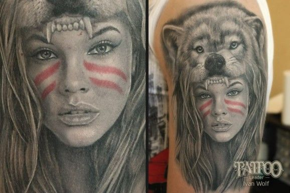 15 Trendy Animal Headpiece Tattoos Wolf Girl Tattoos Native Tattoos Headdress Tattoo