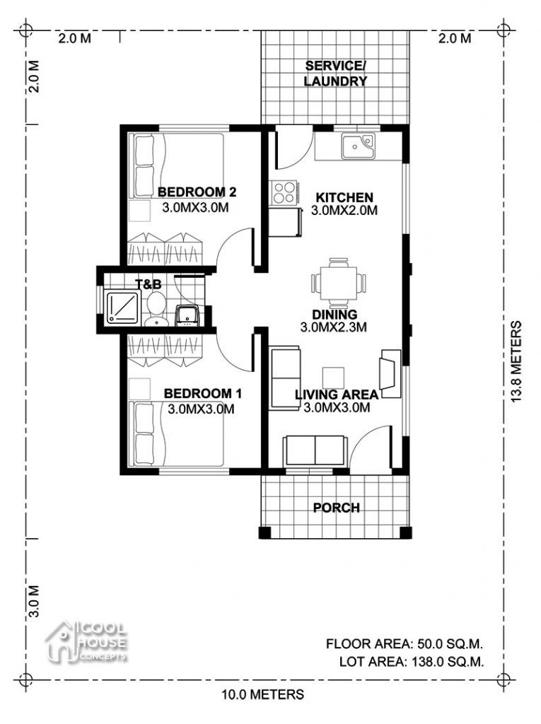 Tiny House Plan With 2 Bedrooms Cool House Concepts Two Bedroom House Design 2 Bedroom House Design Small Modern House Plans