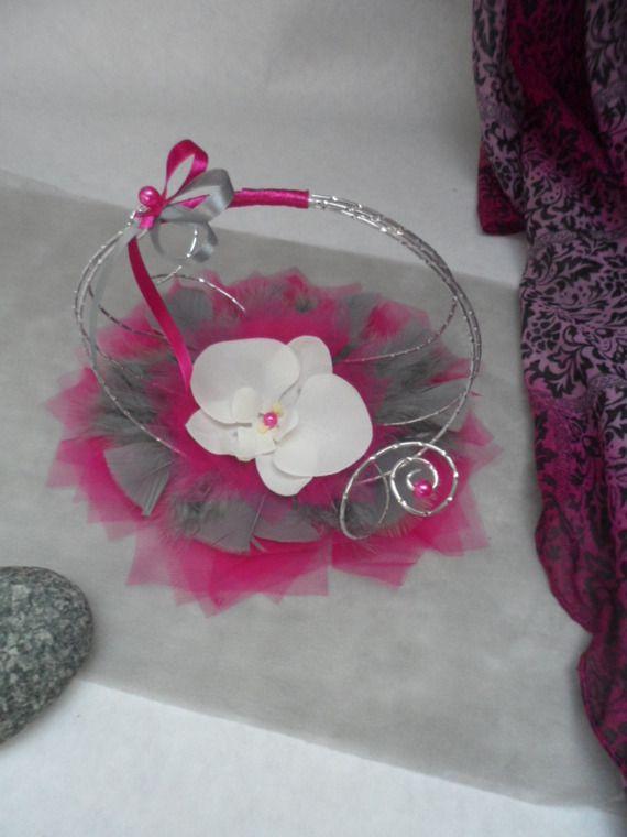 Porte alliances original pour mariage fuchsia gris for Decoration fausse porte mariage