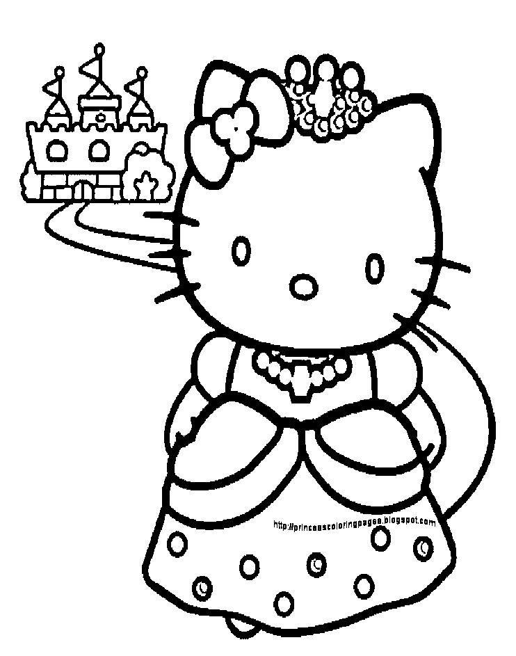 Princess Hello Kitty Coloring Pages Hello Kitty Para Colorear