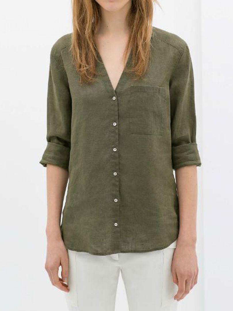 70ab9de647836d Olive Green V-neck Shift Shirt - Fashion Clothing
