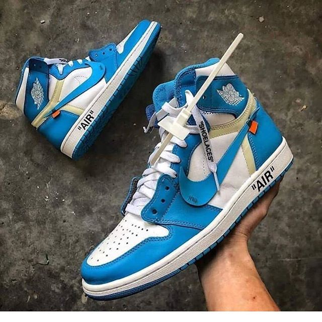 47816b7c64e0d5 OFF WHITE x Nike Air Jordan 1 UNC White Sneakers