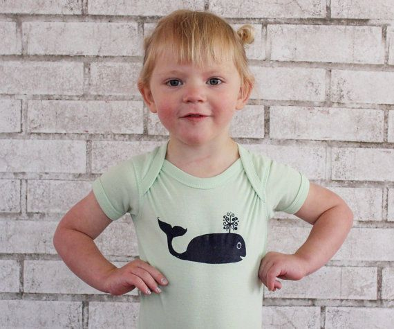 Whale Baby Onepiece Cotton Infant Bodysuit Mint by CausticThreads, $20.00