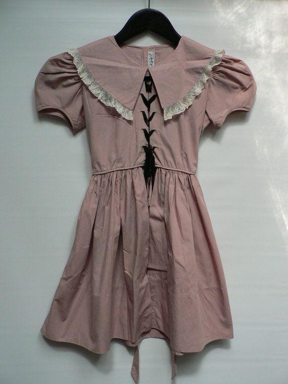 1940s 50s pink children dress/ girl bridesmaid dress/ little girls dress