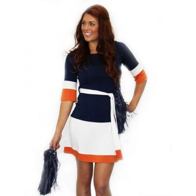 Three Tone Color Block 3/4 Sleeve Dress | Game Day Dresses, Apparel, Jewelry, Shoes & More