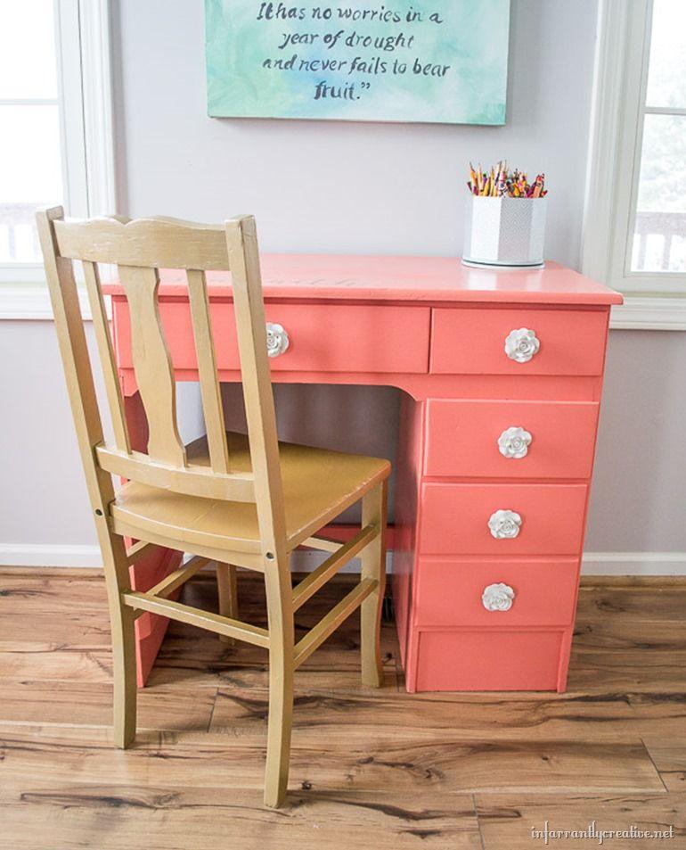 Personalized Coral Desk Infarrantly Creative Desk Desk Redo Desk Makeover
