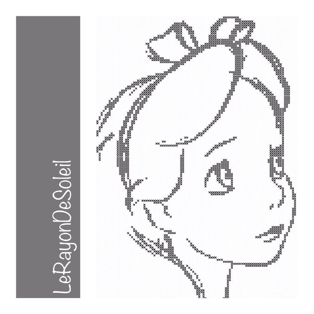 Cross stitch pattern alice in wonderland draw sketch portrait