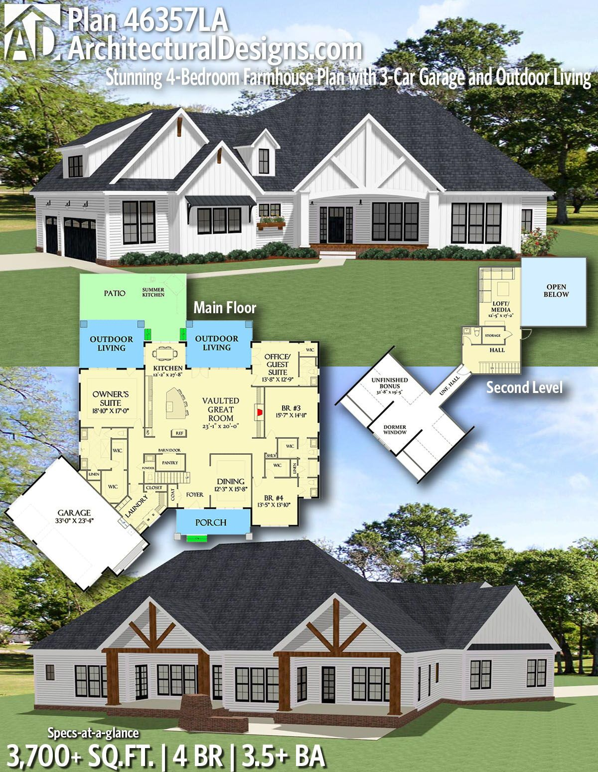 Plan 46357la Stunning 4 Bedroom Farmhouse Plan With 3 Car Garage And Outdoor Living Craftsman House Plans Farmhouse Plans Craftsman Farmhouse