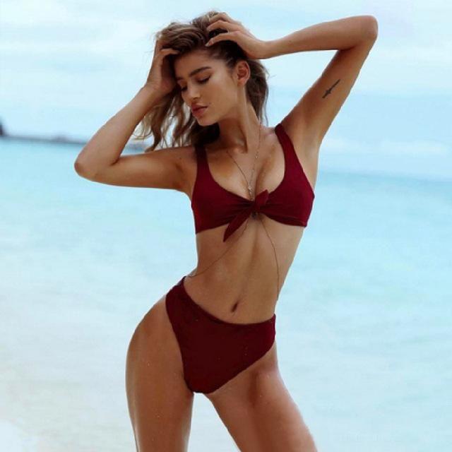 7799db5bd0004 Bikinis Set Bikini 2018 Swimwear Women Plus Size Xxl Solid Bow Bathing  Swimsuit High Waist Padding Bandage Sexy Brazil Biquini